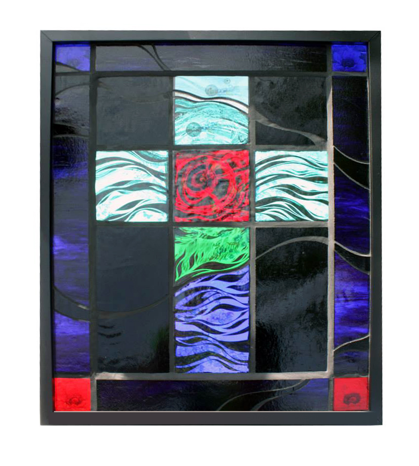 Fired, hand-painted<br /> stained glass with <br /> black grout<br /> 53 x 43 cm