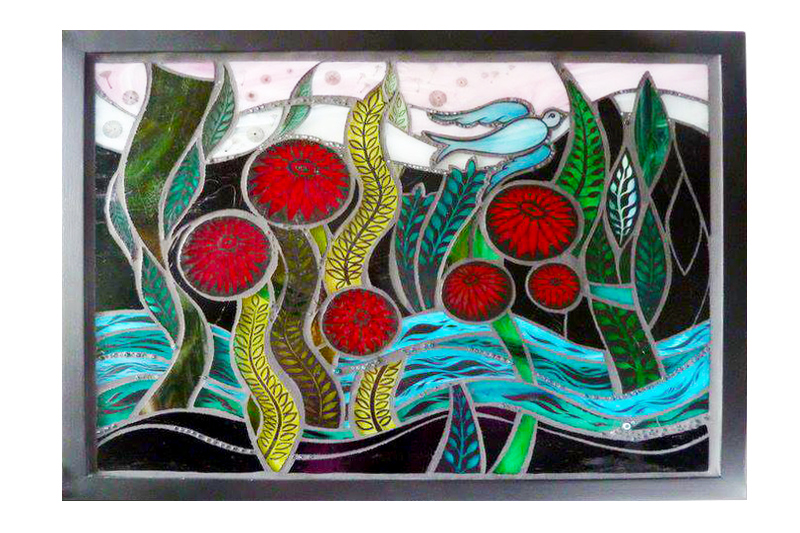 Lightbox;<br /> Fired, hand-painted<br /> stained glass and <br /> glass beads with <br /> black grout; 2 lights<br /> 60 46 cm