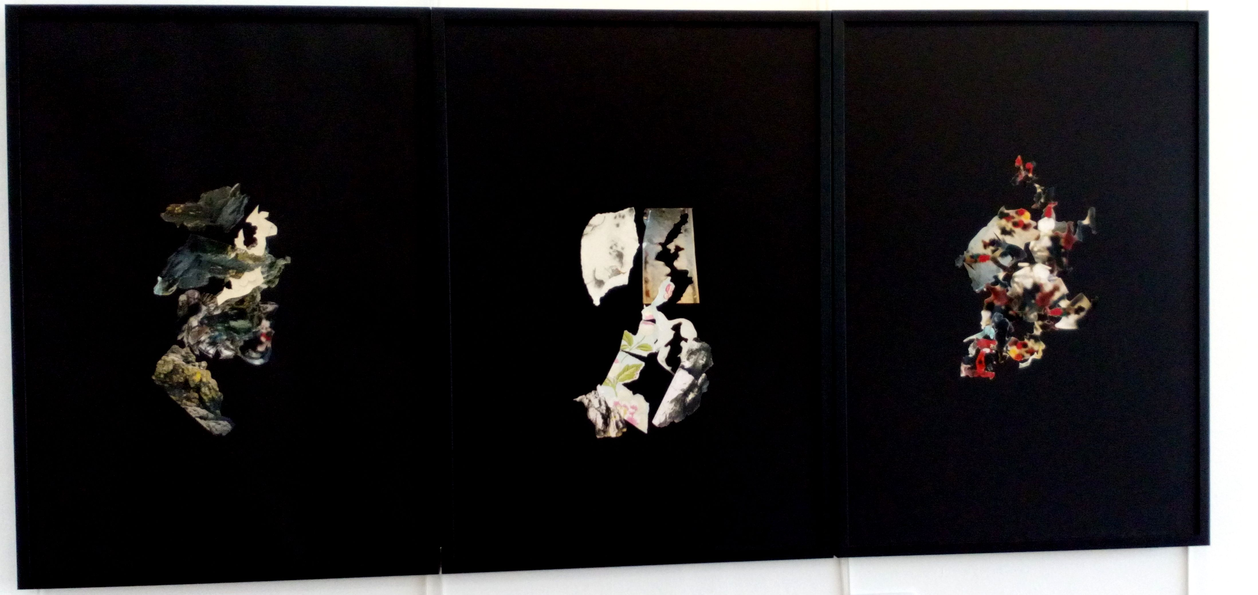 Photographic fragments. Collage on mount board. Trilogy