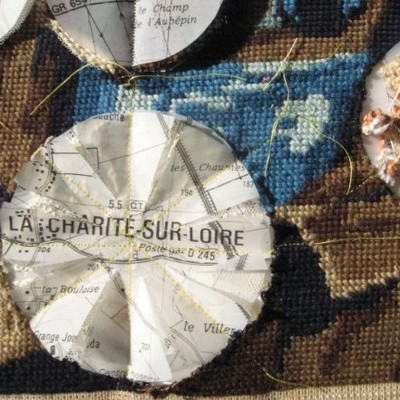 Paper and stitch work relating to travels